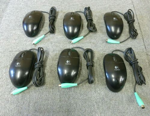 6 x Logitech M-SBF96 852210-0000 Black PS/2 Wired Optical Scroll Wheel Mouse